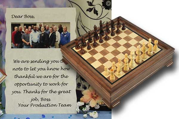 Personalized Message and Unique Gift Chess Gameboard