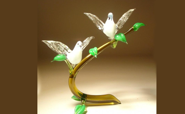 unique Gift Blown Glass dove on branch