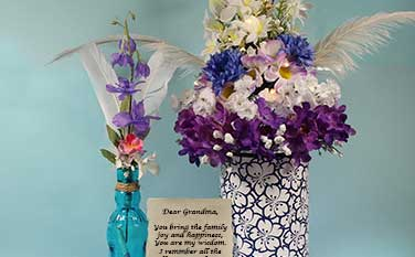 Floral Arrangements and personalized message Scroll