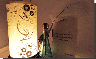 Personalized Message in a bottle Dove Lantern and Featherpen