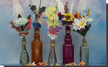 Floral Bouquet in vintage Message Bottles